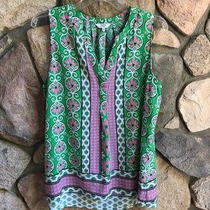 Crown & Ivy Sleeveless Pink & Green Blouse Large